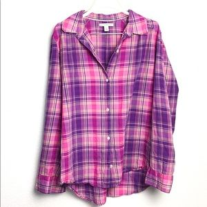 Banana Republic Pink Plaid Button Down Shirt